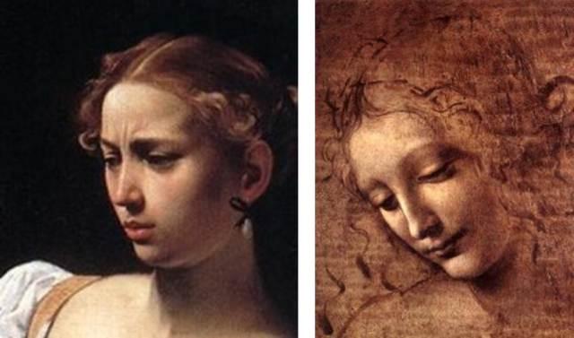 """Dos gestos contrapuestos. El del rostro de la imagen de la izquierda pertenece al cuadro """"Decapitación de Holdermes"""" de Caravaggio. El de la derecha del cuadro de Leonardo da Vinchi """"Cabeza de mujer""""."""