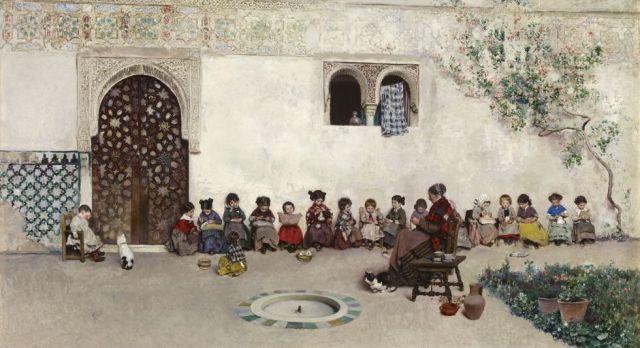 El patio de la Escuela, óleo sobre lienzo de Martín Rico Ortega (1871)